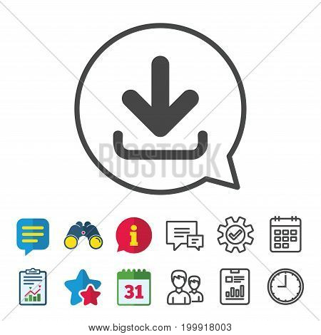 Download icon. Upload button. Load symbol. Information, Report and Calendar signs. Group, Service and Chat line icons. Vector