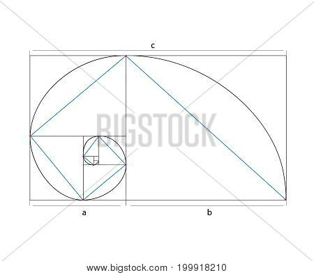 Golden ration section line frame vector. mathematics symbol vector