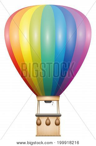 Captive balloon - rainbow colored flying vehicle with basket and sandbags - isolated vector illustration on white background.