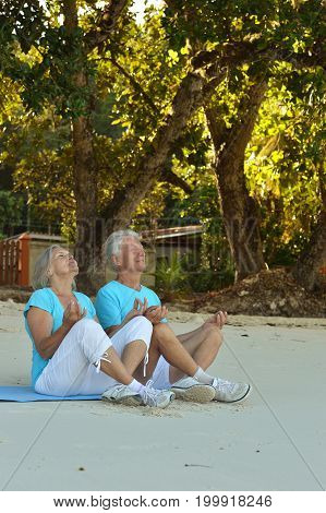 Elderly couple meditating together on sandy beach