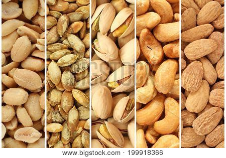 Roasted and salted nuts and seeds collage - peanuts, pumpkin seeds, pistachio nuts, cashew nuts, almonds