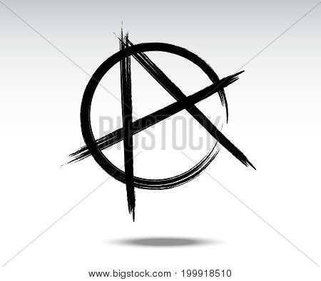 Vector illustration of black anarchy sign painted by dry brush. Hand drawn symbol. Punk or Protest