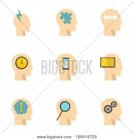 Head silhouette with gear icons set. Flat set of 9 head silhouette with gear vector icons for web isolated on white background