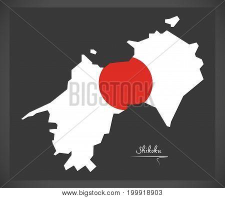 Shikoku Map Of Japan With Japanese National Flag Illustration