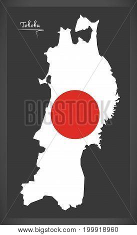 Tohoku Map Of Japan With Japanese National Flag Illustration