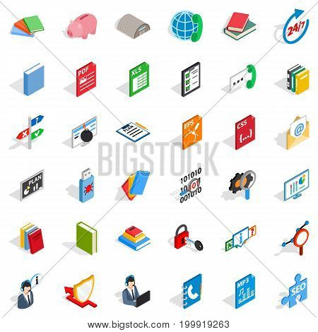 Elearning icons set. Isometric style of 36 elearning vector icons for web isolated on white background