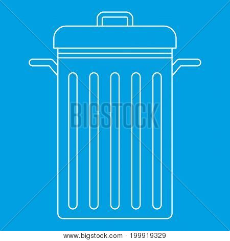 Trash can with lid icon blue outline style isolated vector illustration. Thin line sign