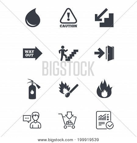 Fire safety, emergency icons. Fire extinguisher, exit and attention signs. Caution, water drop and way out symbols. Customer service, Shopping cart and Report line signs. Vector