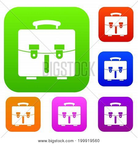 Diplomat bag set icon in different colors isolated vector illustration. Premium collection