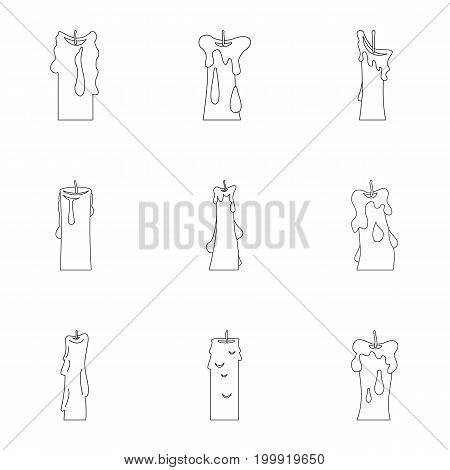 Candle forms icon set. Outline style set of 9 candle forms vector icons for web isolated on white background