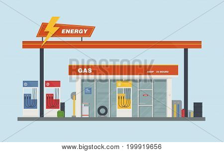 Gas station cartoon flat vector illustration. colorful.