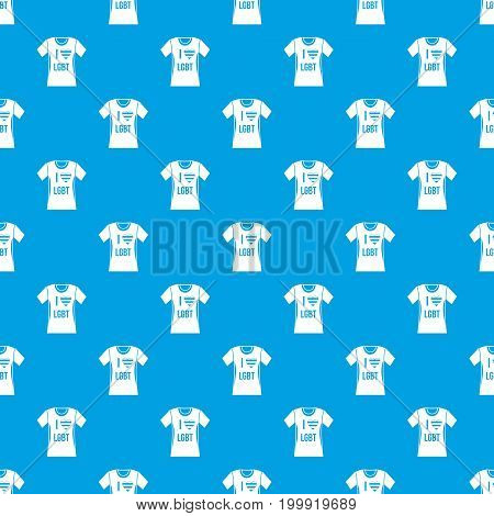 T-shirt i love LGBT pattern repeat seamless in blue color for any design. Vector geometric illustration