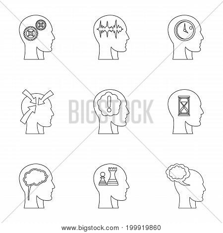 Head silhouette with gear icons set. Outline set of 9 head silhouette with gear vector icons for web isolated on white background