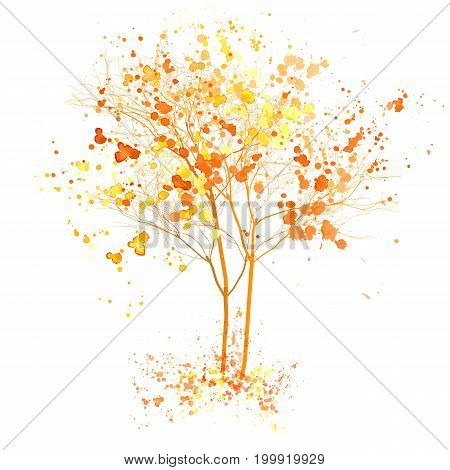 Autumn tree watercolor illustration. Fall tree with art splashes isolated on white background