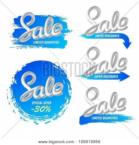 A set of billboards, advertising banners, stickers. Sale, discounts. Paint strokes. Handwriting Blend letters Vector illustration