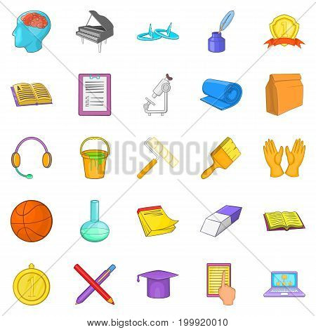 New knowledge icons set. Cartoon set of 25 new knowledge vector icons for web isolated on white background