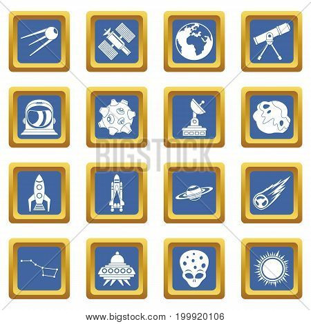 Space icons set in blue color isolated vector illustration for web and any design