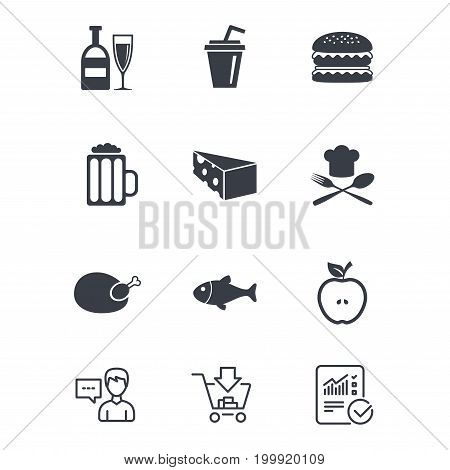 Food, drink icons. Beer, fish and burger signs. Chicken, cheese and apple symbols. Customer service, Shopping cart and Report line signs. Online shopping and Statistics. Vector