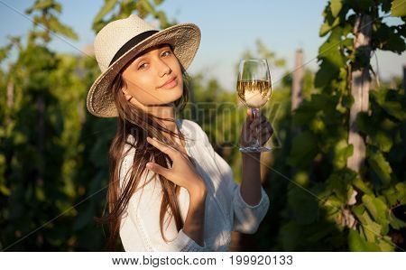 Gorgeous Brunette Woman Having Wine Fun.