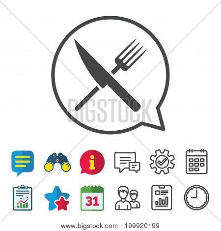 Food sign icon. Cutlery symbol. Knife and fork. Information, Report and Calendar signs. Group, Service and Chat line icons. Vector