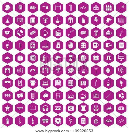 100 leisure icons set in violet hexagon isolated vector illustration