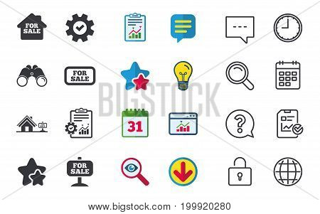 For sale icons. Real estate selling signs. Home house symbol. Chat, Report and Calendar signs. Stars, Statistics and Download icons. Question, Clock and Globe. Vector