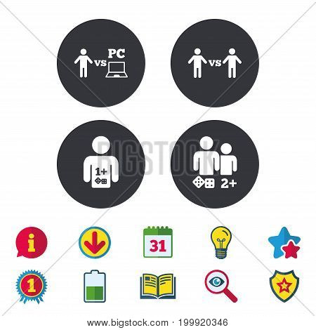 Gamer icons. Board and PC games players signs. Player vs PC symbol. Calendar, Information and Download signs. Stars, Award and Book icons. Light bulb, Shield and Search. Vector