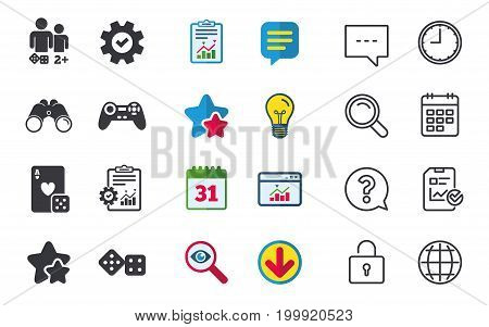 Gamer icons. Board games players signs. Video game joystick symbol. Casino playing card. Chat, Report and Calendar signs. Stars, Statistics and Download icons. Question, Clock and Globe. Vector