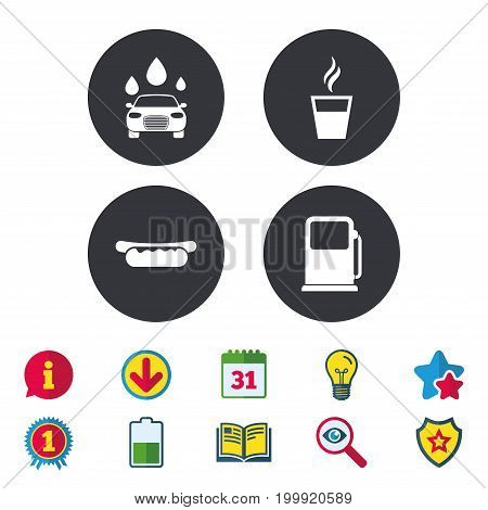 Petrol or Gas station services icons. Automated car wash signs. Hotdog sandwich and hot coffee cup symbols. Calendar, Information and Download signs. Stars, Award and Book icons. Vector