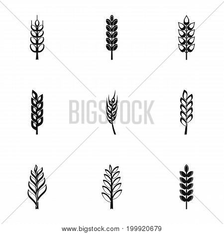 Cereal grain icon set. Simple style set of 9 cereal grain vector icons for web isolated on white background
