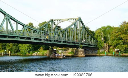POTSDAM GERMANY - AUGUST 15 2017: View on the Glienicke Bridge - Glienicker Brücke - and Havel river in Potsdam.