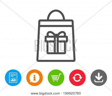 Shopping bag with Gift box line icon. Present or Sale sign. Birthday Shopping symbol. Package in Gift Wrap. Report, Information and Refresh line signs. Shopping cart and Download icons. Vector