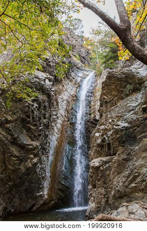 a view of a small waterfall in troodos mountains in cyprus.
