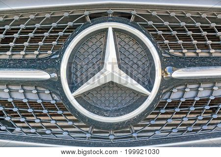 Stuttgart Germany - May 06 2017: Mercedes Benz grill with star