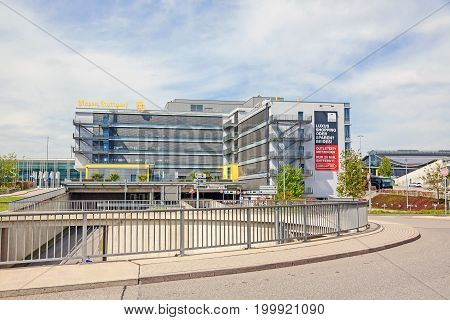 Stuttgart Germany - May 06 2017: Trade fair Stuttgart - main building with logo