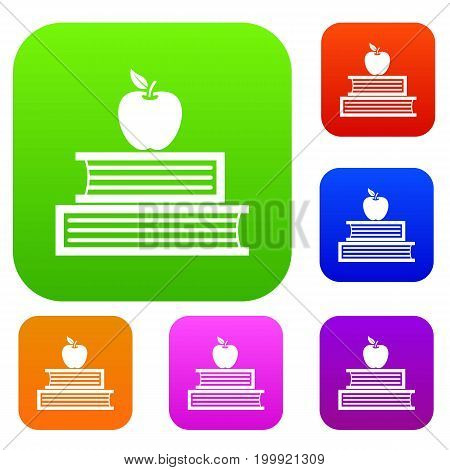Books and apple set icon in different colors isolated vector illustration. Premium collection