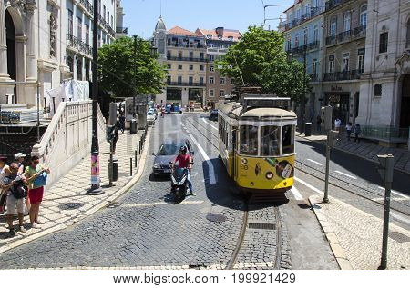 Lisbon PORTUGAL June 1 2017. Lisbon Tram is one of Lisbon's most important tourist attractions. Old tramway circulating through the streets in center of Lisbon .