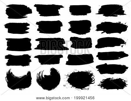 Black highlight stripes, banners drawn with markers. Stylish highlight elements for design. Vector banners marker stroke, spots black color