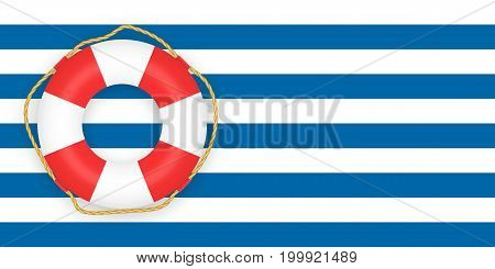Vintage striped blue background with lifering. Place for your text.
