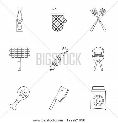 Frying meat icons set. Outline set of 9 frying meat vector icons for web isolated on white background