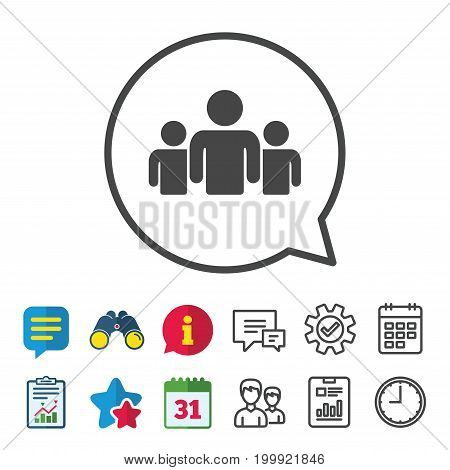 Group of people sign icon. Share symbol. Information, Report and Calendar signs. Group, Service and Chat line icons. Vector