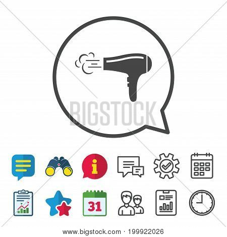 Hairdryer sign icon. Hair drying symbol. Blowing hot air. Turn on. Information, Report and Calendar signs. Group, Service and Chat line icons. Vector