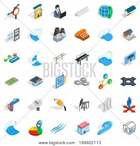 Electricity icons set. Isometric style of 36 electricity vector icons for web isolated on white background