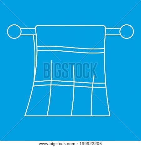 Clean towel on a hanger icon blue outline style isolated vector illustration. Thin line sign