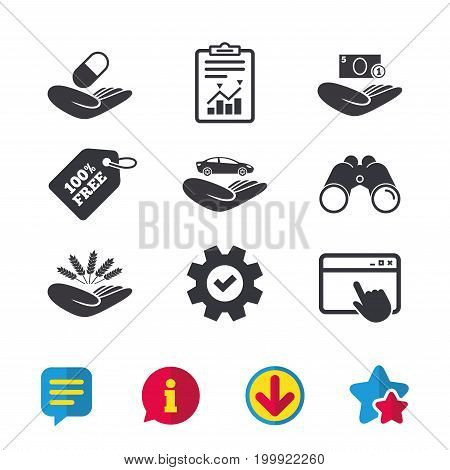 Helping hands icons. Protection and insurance symbols. Save money, car and health medical insurance. Agriculture wheat sign. Browser window, Report and Service signs. Vector