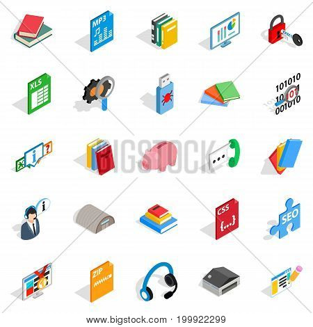 Exam icons set. Isometric set of 25 exam vector icons for web isolated on white background