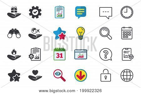Helping hands icons. Health and travel trip insurance symbols. Gift present box sign. Fire protection. Chat, Report and Calendar signs. Stars, Statistics and Download icons. Question, Clock and Globe