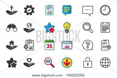 Helping hands icons. Heart health and travel trip insurance symbols. Home house or real estate sign. Chat, Report and Calendar signs. Stars, Statistics and Download icons. Question, Clock and Globe