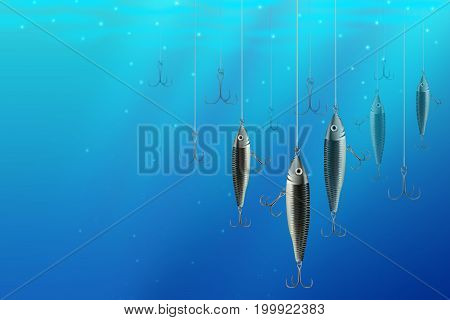 Fishing lures backgrounds. Realistic hooks wallpaper for catching salmon catfish tuna pike perch marlin bass trout or tarpon. Underwater wobblers vector for web and printed products.