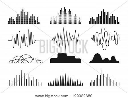 Sound waves icons set. Symbols for audio equalizer technology musical pulse emblem. Monochrome version